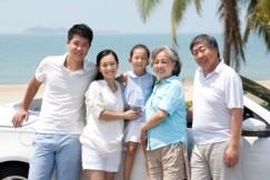 Chinese family at beach - China elite focus