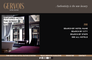 Gervois Hotel Rating 2018 website screenshot